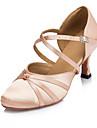 Žene Moderna obuća Saten Sandale / Štikle Kopča / S volanima Potpetica po mjeri Moguće personalizirati Plesne cipele Crna / Roza