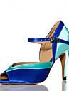 בגדי ריקוד נשים נעליים לטיניות / נעלי סלסה / נעלי סמבה סטן סנדלים / עקבים אבזם עקב מותאם מותאם אישית נעלי ריקוד ורוד / כחול / בבית / הצגה / אימון / מקצועי / EU41