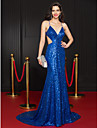 Mermaid / Trumpet Plunging Neckline Court Train Sequined Formal Evening Dress with Sequin by TS Couture®