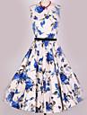 Pentru femei Vintage Linie A Rochie Floral Talie Inaltă Midi
