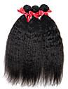 Äkta hår Brasilianskt hår Human Hår vävar Rakt Hårförlängningar 3 delar Svart