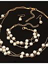 Per donna Galleggiante Parure di gioielli Perla, Perle finte, Strass Donne, Elegante, Nuziale Includere Orecchini a goccia Dell\involucro del braccialetto Collana di perle Bianco Per Matrimonio Feste