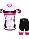 WOSAWE Dam Kortärmad Cykeltröja med shorts - Pärsiko Cykel Shorts Tröja Klädesset, Snabb tork, Anatomisk design, Andningsfunktion,