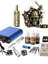 Tattoo Machine Starter Kit 1 alloy machine liner & shader High Quality Mini power supply 1 x aluminum grip pcs Tattoo Needles Classic