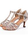 Pentru femei Pantofi Dans Latin Sintetice Sandale Cataramă / Imprimeu Animal / Decupat Toc Flared Personalizabili Pantofi de dans Negru / Argintiu / Auriu / Performanță / Piele