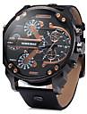 Bărbați Ceas Militar Ceas de Mână Quartz Calendar Zone Duale de Timp Piele Bandă Luxos Negru Maro