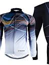 Nuckily Homme Manches Longues Maillot et Cuissard Long de Cyclisme - Couleur camouflage Geometrique Velo Ensemble de Vetements, Garder au