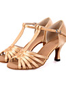 Pentru femei Pantofi Dans Latin Material elastic Sandale / Călcâi / Adidași Cataramă / Legătură Panglică / Decupat Toc Flared Personalizabili Pantofi de dans Negru / Bej / Verde / Piele / Antrenament