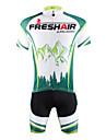 ILPALADINO Herr Kortärmad Cykeltröja med shorts - Grön Cykel Shorts Tröja Klädesset, Snabb tork, UV-Resistent, Andningsfunktion
