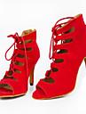 Pentru femei Pantofi Dans Latin / Pantofi Jazz / Pantofi Salsa Îmbulzesc Sandale / Călcâi Fermoar / Dantelă / Decupat Toc Personalizat
