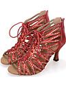 Pentru femei Pantofi Salsa Sintetice Călcâi / Adidași Volane / Fermoar Toc Flared Personalizabili Pantofi de dans Negru / Roșu / Argintiu / Performanță / Piele