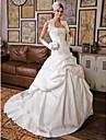 Plesové šaty Bez ramínek Extra dlouhá vlečka Krajka Satén Vlastní svatební šaty s Aplikace Nabíraná sukně podle LAN TING BRIDE®
