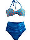 Pentru femei Halter Bikini Costume de Baie Punct Retro Albastru