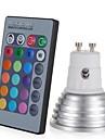 1pc 3W 250lm E14 GU10 GU5.3 E26 / E27 Spot LED 1 Perles LED LED Haute Puissance Intensite Reglable Decorative Commandee a Distance RVB