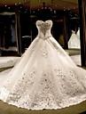 Da principessa A cuore Strascico da cattedrale Lace Over Tulle Abiti da sposa personalizzati con Fiocco (fiocchi) Dettagli con cristalli