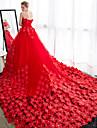 Da ballo Senza bretelline Strascico da cattedrale Raso Tulle Abiti da sposa personalizzati con Dettagli con cristalli Floreale di LAN