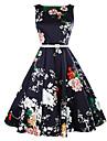 Dame Casul/Zilnic Vintage Linie A Rochie-Floral Fără manșon Rotund Lungime Genunchi Albastru Bumbac Vară Talie Medie Micro-elastic