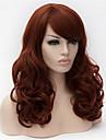 Sintetičke perike Kovrčav Stil Asimetrična frizura Capless Perika Smeđa Tamno Auburn Sintentička kosa Žene Prirodna linija za kosu Smeđa Perika Dug Cosplay perika