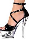 Mulheres Sandalias cruzadas Couro Envernizado Primavera / Verao / Outono Sapatos clube Sandalias Plataforma / Heel translucido / Salto Alto de Cristal Presilha / Vazados Branco / Preto / Branco