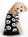 Katt Hund Tröjor Hundkläder Mode Halloween Dödskalle Svart Kostym För husdjur