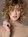 Femme Perruque Synthetique Sans bonnet Court Frises Blonde Partie laterale Perruque Naturelle Perruque Deguisement