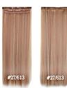 syntetiskt clip in hårförlängningar 24inch 5 klipp # 27/613 värmebeständighet fiber rakt hår klipp i hög grad