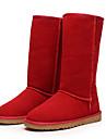 Femme Chaussures Fourrure Daim Cuir Hiver Bottes a la Mode Bottes de neige Bottes Talon Plat Bottes Mi-mollet pour De plein air Noir