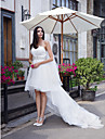 A-Line Sweetheart Asymmetrical Organza Custom Wedding Dresses with Crystal by LAN TING BRIDE®