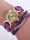 Pentru femei Ceas La Modă Ceas de Mână Ceas Brățară Simulat Diamant Ceas Quartz / imitație de diamant Piele Bandă Floare Boem Negru Alb
