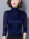 Damă Guler Pe Gât Bluză Muncă Plus Size Sexy,Imprimeu Manșon Lung Primăvară Toamnă-Mediu Nailon