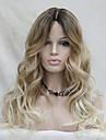 Synthetische Peruecken Wellen Blond Synthetische Haare Gefaerbte Haarspitzen (Ombré Hair) / Dunkler Haaransatz / Natuerlicher Haaransatz Blond Peruecke Damen Lang Kappenlos