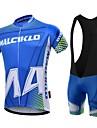 Malciklo Maillot et Cuissard a Bretelles de Cyclisme Homme Manches Courtes Velo Ensemble de Vetements Sechage rapide Zip frontal