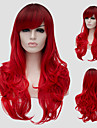 Parrucche sintetiche Ondulato Con frangia Capelli sintetici Parte laterale Rosso Parrucca Per donna Lungo Senza tappo Rosso
