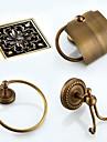 Set d\'Accessoires de Salle de Bain Antique Laiton 3pcs - Bain d\'hotel drainer anneau de la tour Patere Porte-papier toilette