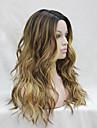 Perruque Synthetique Ondule Coupe Degradee Resistant a la chaleur A Ombre Femme Sans bonnet Perruque Dentelle Long Cheveux Synthetiques
