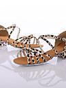 Damă Latin Pantofi Dans Imitație de Piele Călcâi Înăuntru Performanță Cu Dantelă Toc Îndesat Leopard 3.5cm Personalizabili