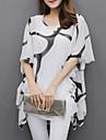 Pentru femei Mărime Plus Size Bluză De Bază Mâneci Lejere, Plisată / Imprimeu Alb negru / Vară / Manșon flare / Larg