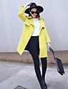 Femei Palton Plus Size Sofisticat,Mată Manșon Lung Toamnă Rever Clasic-Roz / Negru / Gri / Galben Mediu Altele
