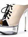Feminino-Saltos-Plataforma Sapatos clube Light Up Shoes-Salto Agulha Plataforma Salto Alto de Cristal-Preto Vermelho Transparente-Couro