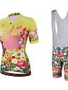 Miloto Dam Kortärmad Cykeltröja med Haklapp-shorts - Gul Cykel Bib Shorts Bib Tights Tröja, Snabb tork, Andningsfunktion, Svettavvisande,