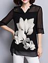 Pentru femei În V Bluză Șic Stradă - Floral Crăpătură Alb negru