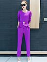 Damă Rotund Bluză Set Pantaloni Costume Ieșire Șic Stradă,Mată Mânecă Lungă Manșon Lung Toamnă Micro-elastic Poliester