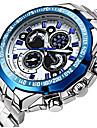 Bărbați Ceas Elegant Ceas de Mână Quartz Quartz Japonez Calendar Rezistent la Apă Iluminat Oțel inoxidabil Bandă Casual Luxos ArgintAlb
