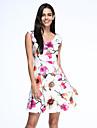 Pentru femei Vintage Mărime Plus Size Linie A Sub Genunchi Rochie,Floral Fără manșon În V