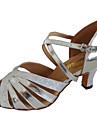Latin / Salsa-Pantofi de dans(Negru / Argintiu) -Personalizabili-Damă
