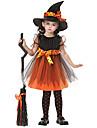 vrăjitoare Costume Cosplay Costume petrecere Mascaradă Cosplay de Film Portocaliu Rochie Șapcă Halloween An Nou Zuia Copiilor