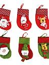 6st / lot julgransdekorationer santa claus&snögubbe&hjort julstrumpor (slumpmässig färg)