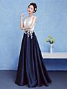 Linia -A Gât V Lungime Podea Dantelă Seară Formală Rochie cu Mărgele de TS Couture®