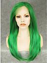 Синтетические кружевные передние парики Прямой Зеленый Искусственные волосы Жен. Парик Лента спереди