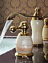 Moderne Diffusion large Jet pluie Soupape ceramique Deux poignees trois trous Ti-PVD, Robinet lavabo